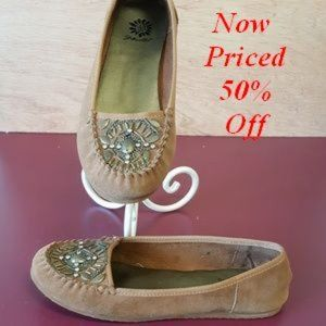 Yellow Box Brown Leather Cassandra Moccasins